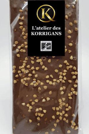 L'Atelier des Korrigans - Fournisseur Chocolat bio - Tablette de Chocolat au lait au Sarrasin