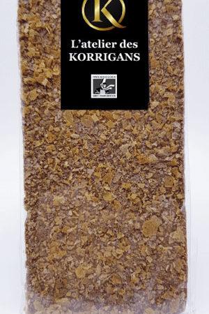 L'Atelier des Korrigans - Fournisseur Chocolat bio - Tablette de Chocolat noir aux Crêpes Dentelles