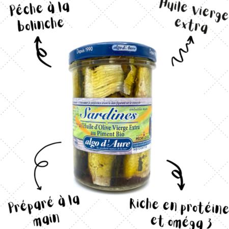 Algo d'Aure - Sardines à l'huile d'olive vierge extra au piment bio