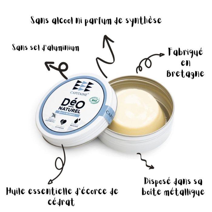 deodorant bio solide écorce de cédrat capitaine cosmétique
